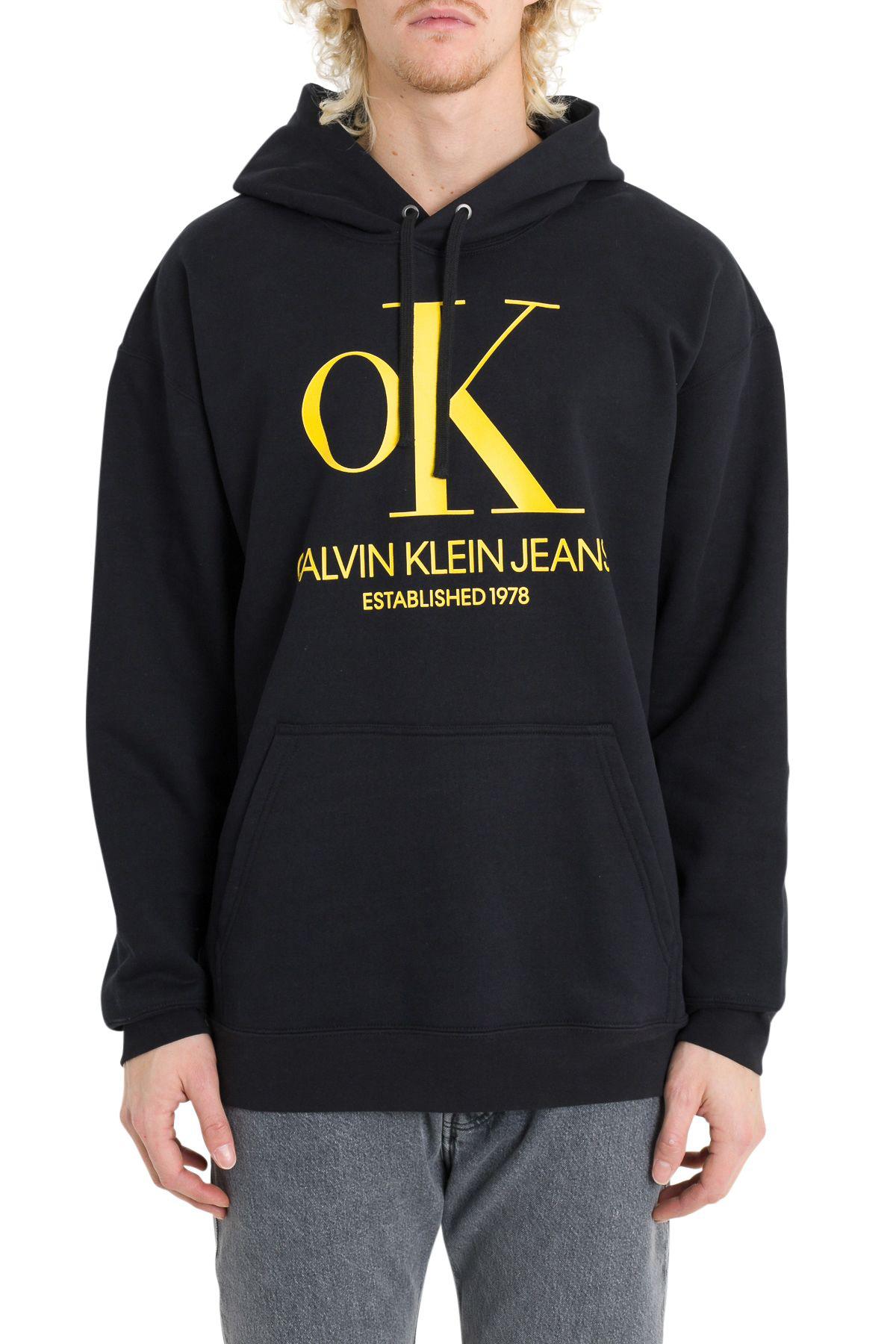 Calvin Klein Jeans – Hoodie mit Logodesign in Schwarz Weiß