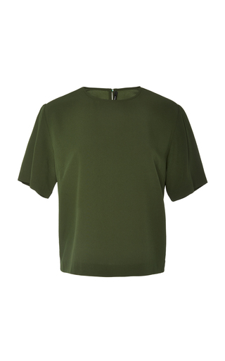 Bouguessa Keyhole Crepe T-shirt In Green