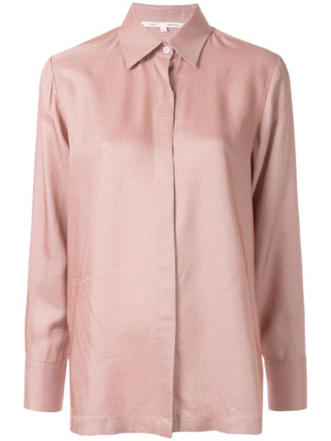 Bouguessa Houndstooth Print Straight Fit Shirt In Light Pink