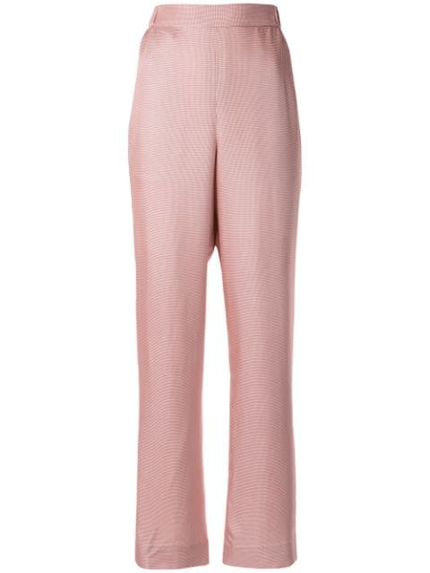 Bouguessa Houndstooth Tweed Straight-leg Pants In Pink