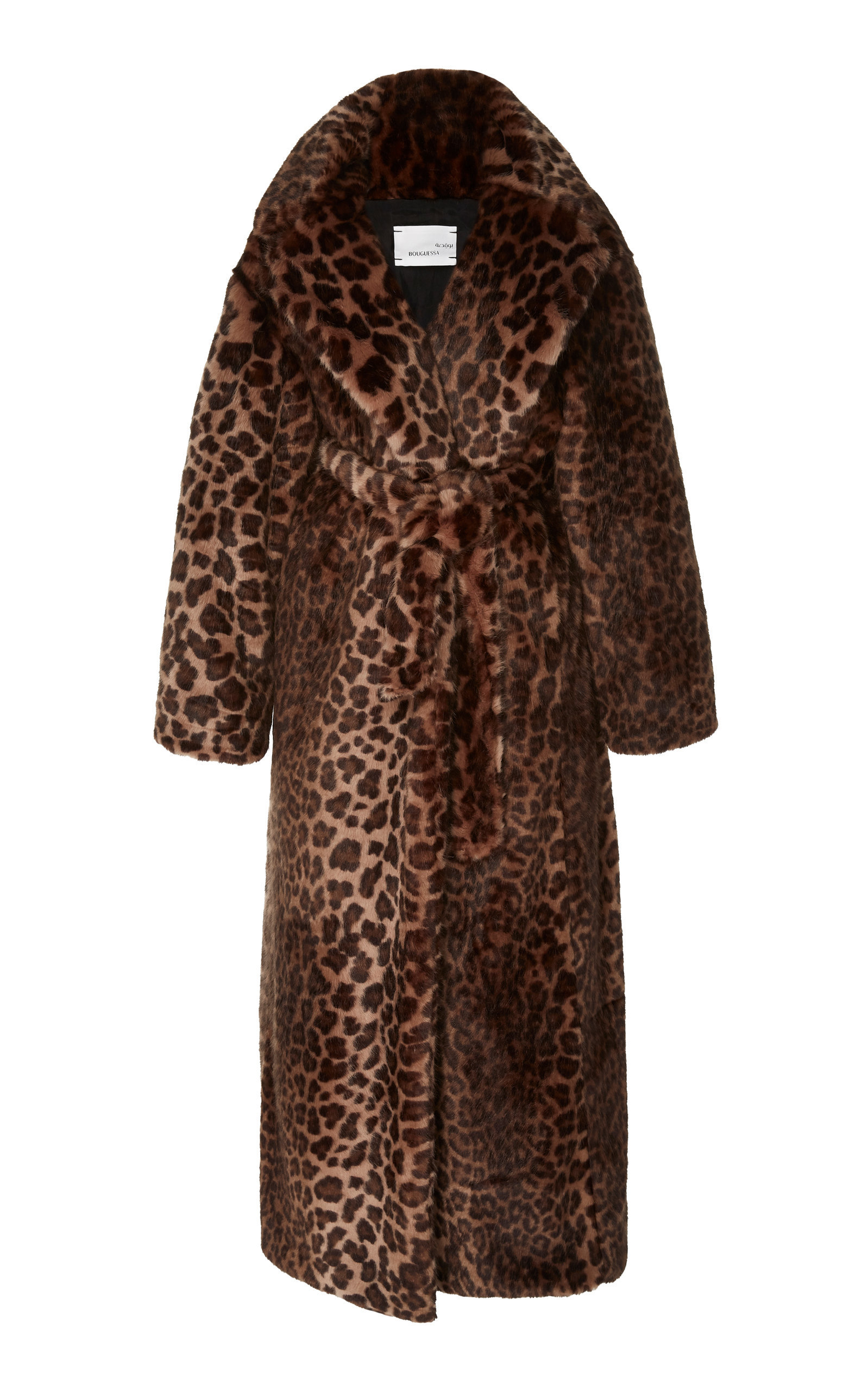 Bouguessa Long Leopard-print Faux Fur Coat In Animal