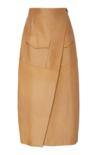 Bouguessa Pocketed Leather Wrap Skirt In Brown