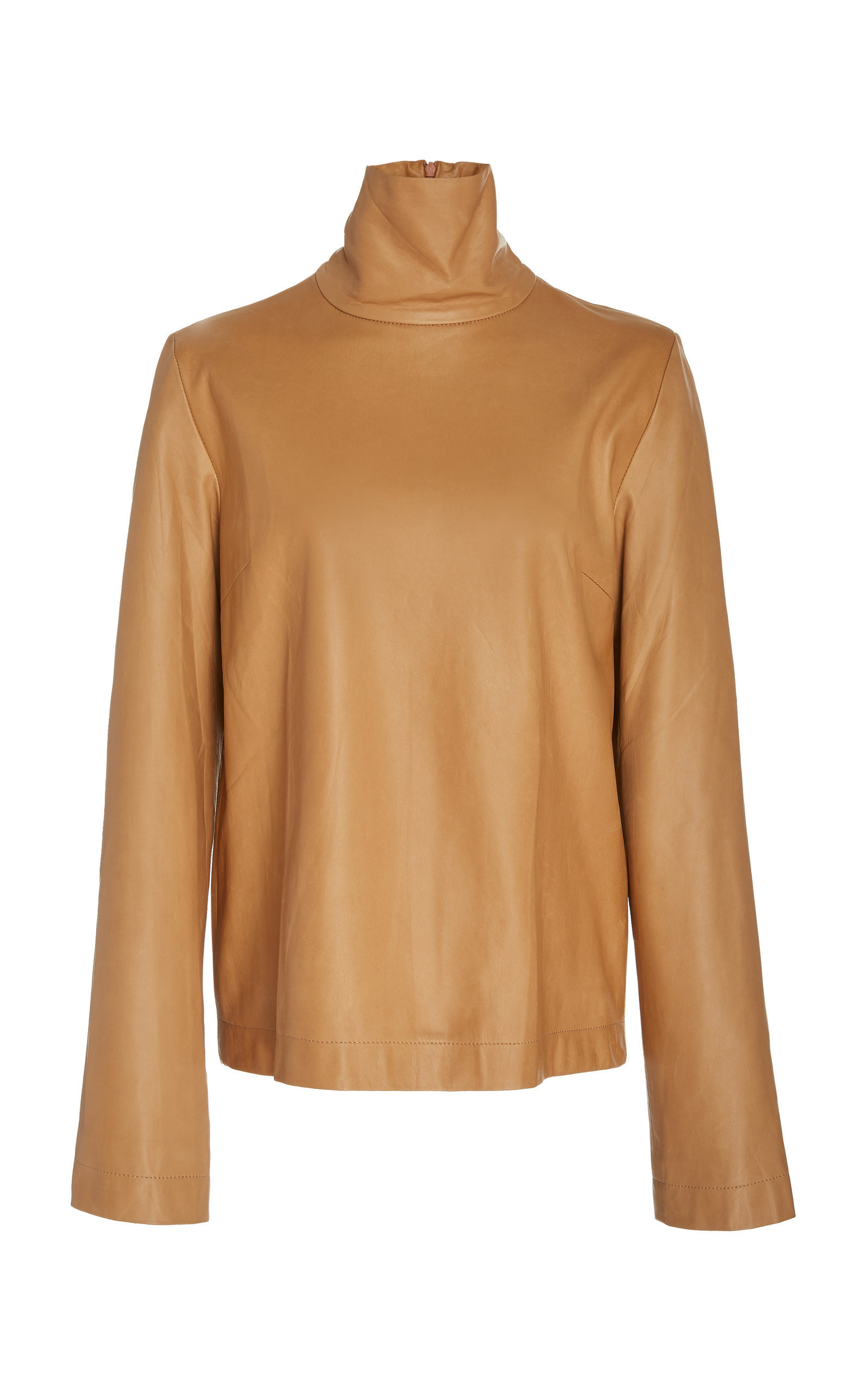 Bouguessa Leather Turtleneck Top In Brown
