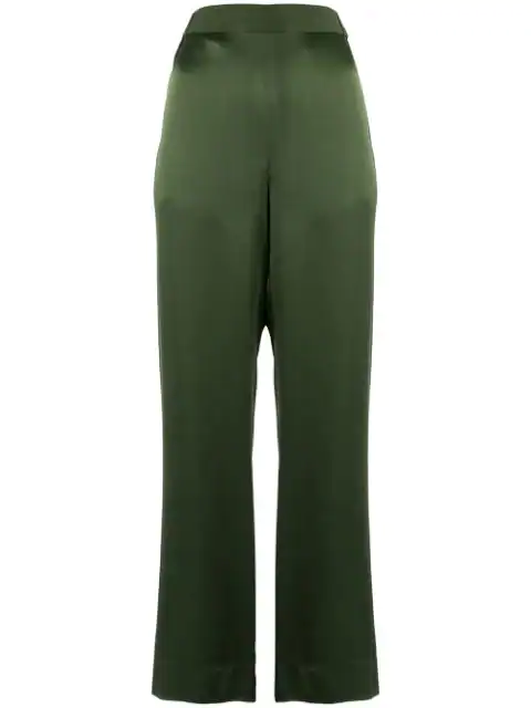 Bouguessa Crepe Straight Leg Trousers In Green
