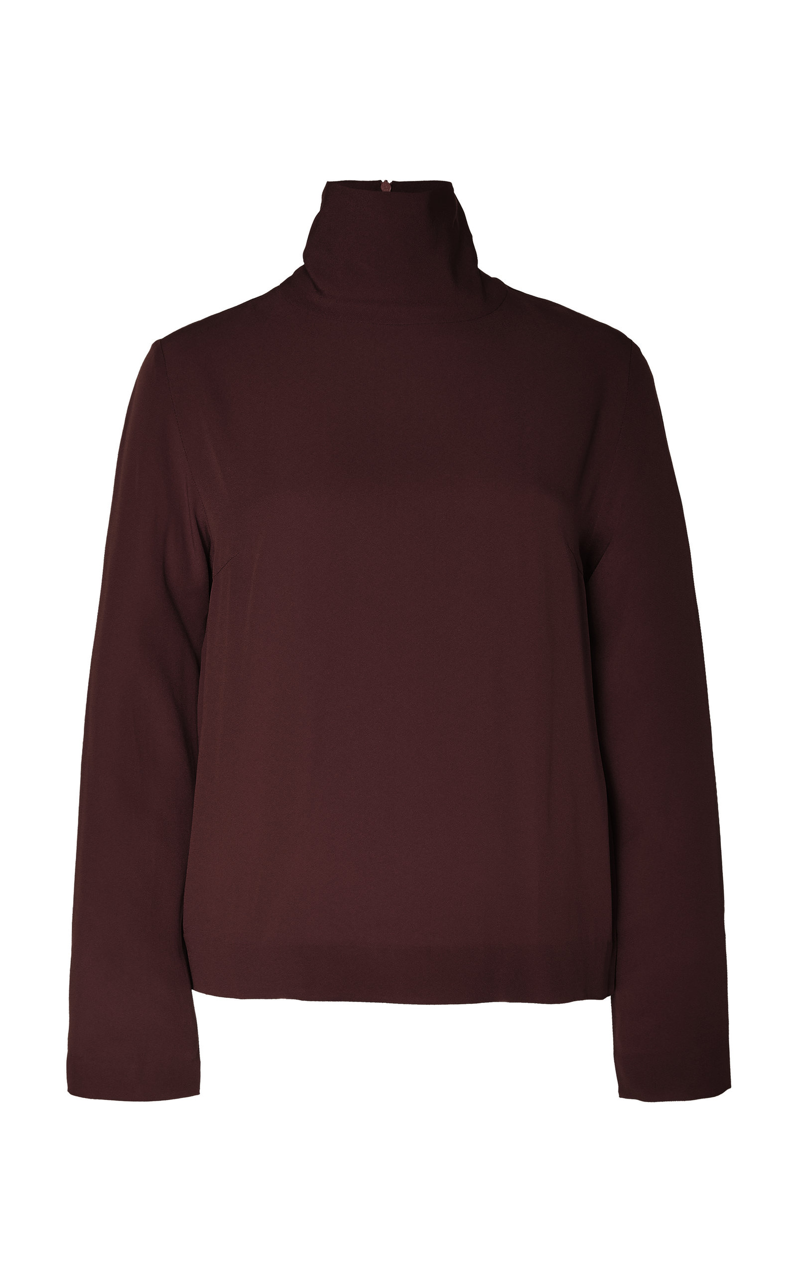 Bouguessa Crepe Turtleneck Top In Red