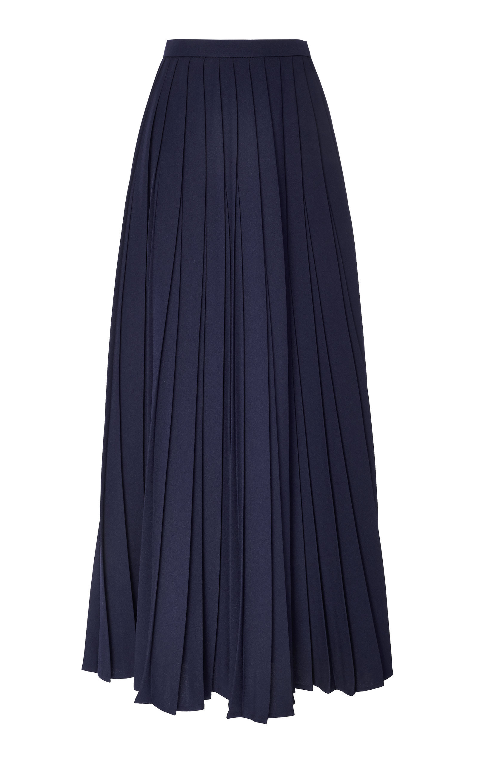 Bouguessa Pleated Crepe Maxi Skirt In Navy
