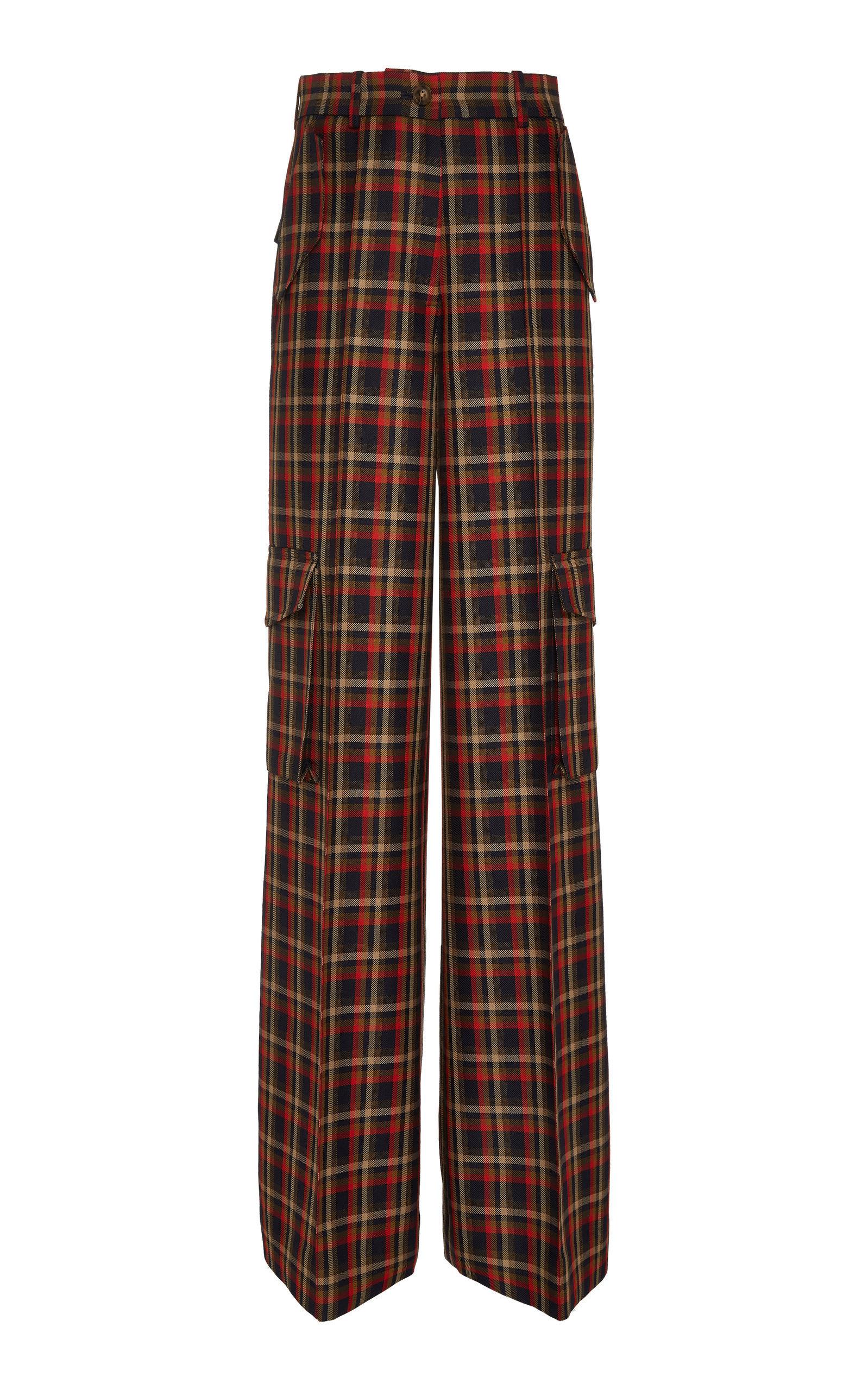 Bouguessa Printed Tweed Straight-leg Wool-blend Pants In Plaid