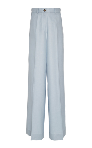 Bouguessa Classic Twill Wide-leg Pants In Blue