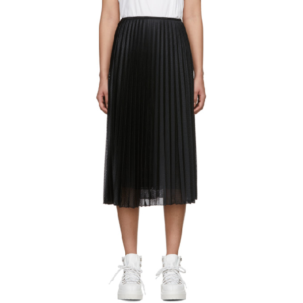 Moncler High-waist Pleated Perforated Stretch-jersey Midi Skirt In Black