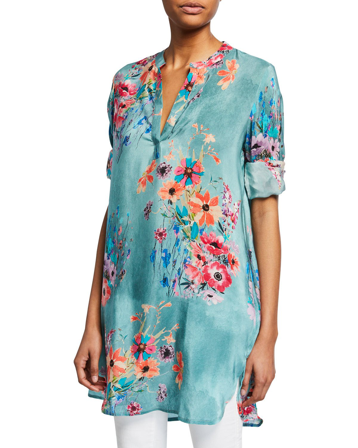 1712745d32f0a1 Tolani Skylar Floral-Print V-Neck Long-Sleeve Tunic In Jade