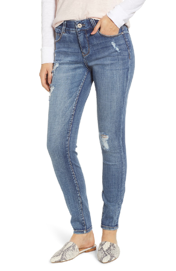 101cd0a1f36 Jag Jeans Cecelia Skinny Distressed Jeans In Island Blue In Mid Vintage