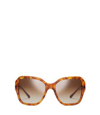 d19199962b1c Tory Burch Square Metal-Logo Sunglasses In Amber Tortoise/Amber ...