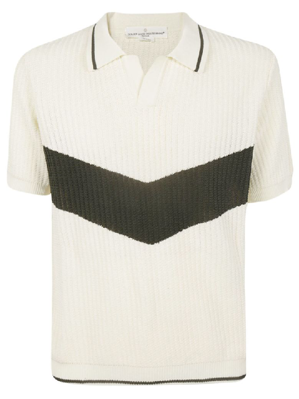 Golden Goose Ribbed Knit Polo Shirt In Basic