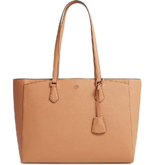 8bd1d0d3c Tory Burch Robinson Saffiano Leather Tote - Brown In Cardamom