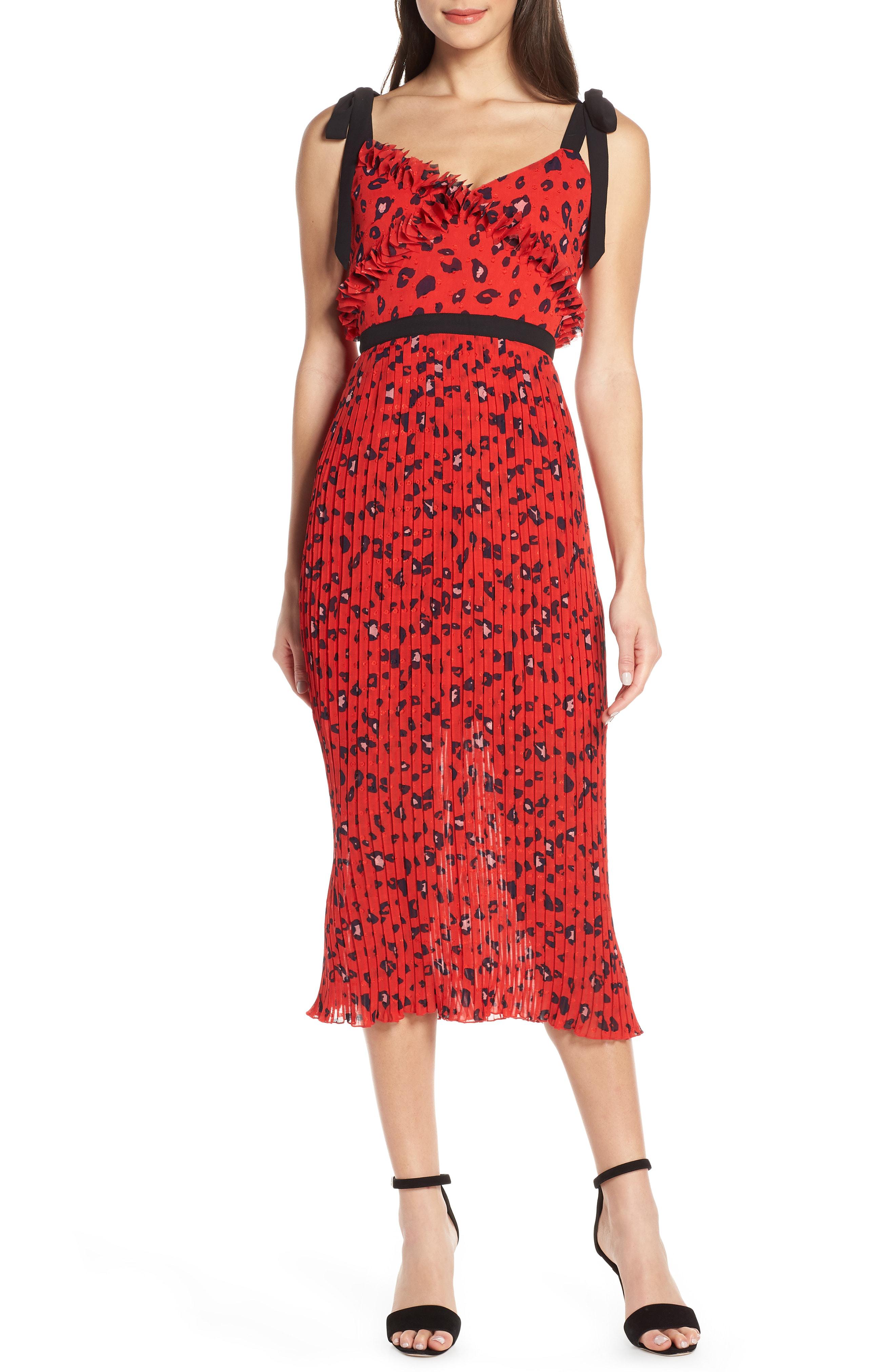 9c174863100 Foxiedox Sassa Print Pleat Midi Dress In Red Leopard Multi