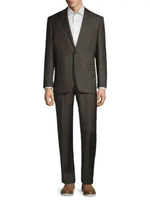 Lauren Ralph Lauren Two-piece Classic Fit Windowpane Check Suit In Brown