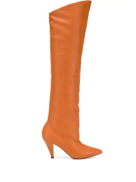 Givenchy Slouchy Knee-High Leather Boots In Neutrals
