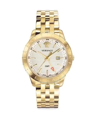 Versace Glaze Gold Ion-Plated Stainless Steel Bracelet Watch In White