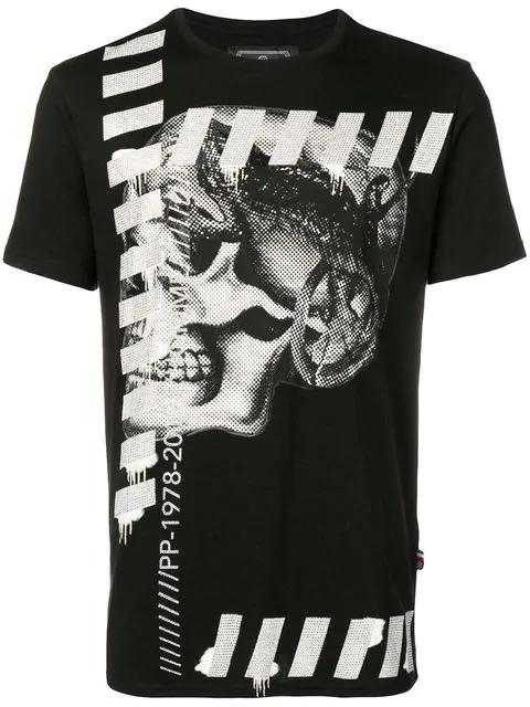 Philipp Plein Skull Graphic T-Shirt In 0201 Black
