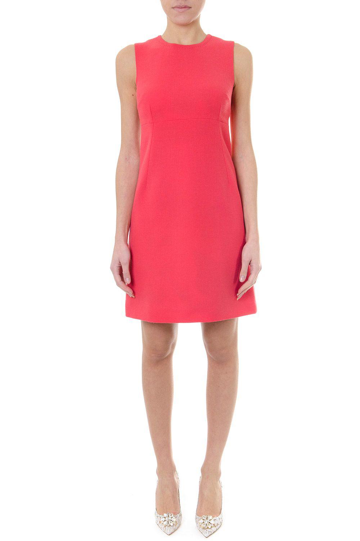 Dolce & Gabbana Wool Crepe Short Dress Color Salmon In Salmone