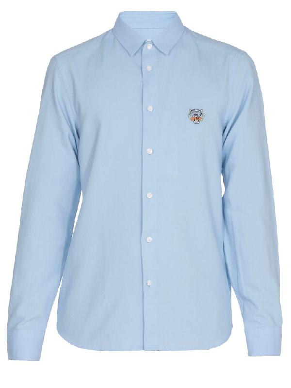 Kenzo Cotton Shirt In Light Blue