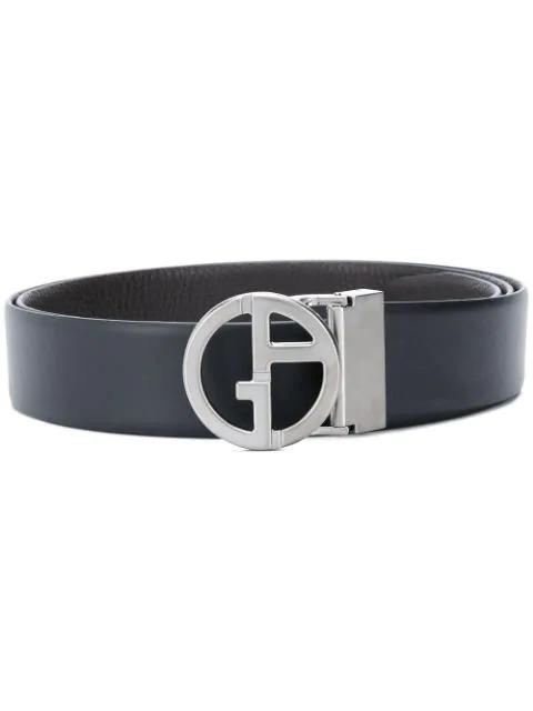 Giorgio Armani Logo Buckle Belt In Black