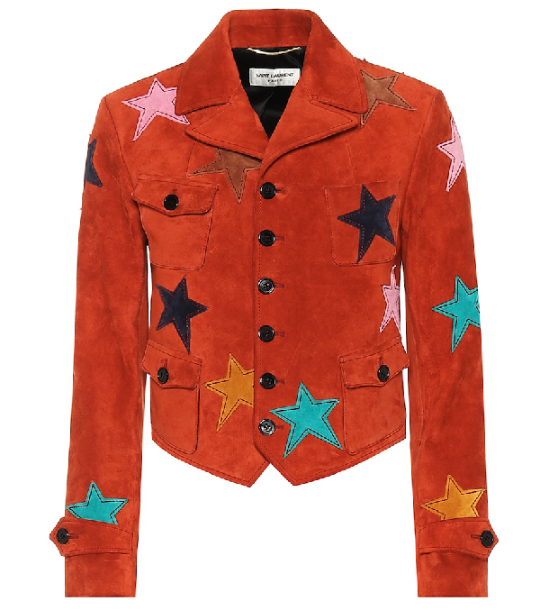 Saint Laurent Short Suede Jacket Decorated With Leather Stars In Red
