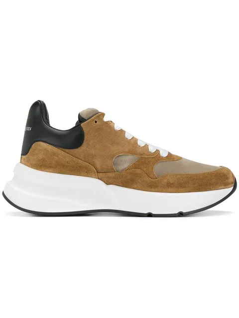 Alexander Mcqueen Runner Raised-Sole Low-Top Leather Trainers In Brown