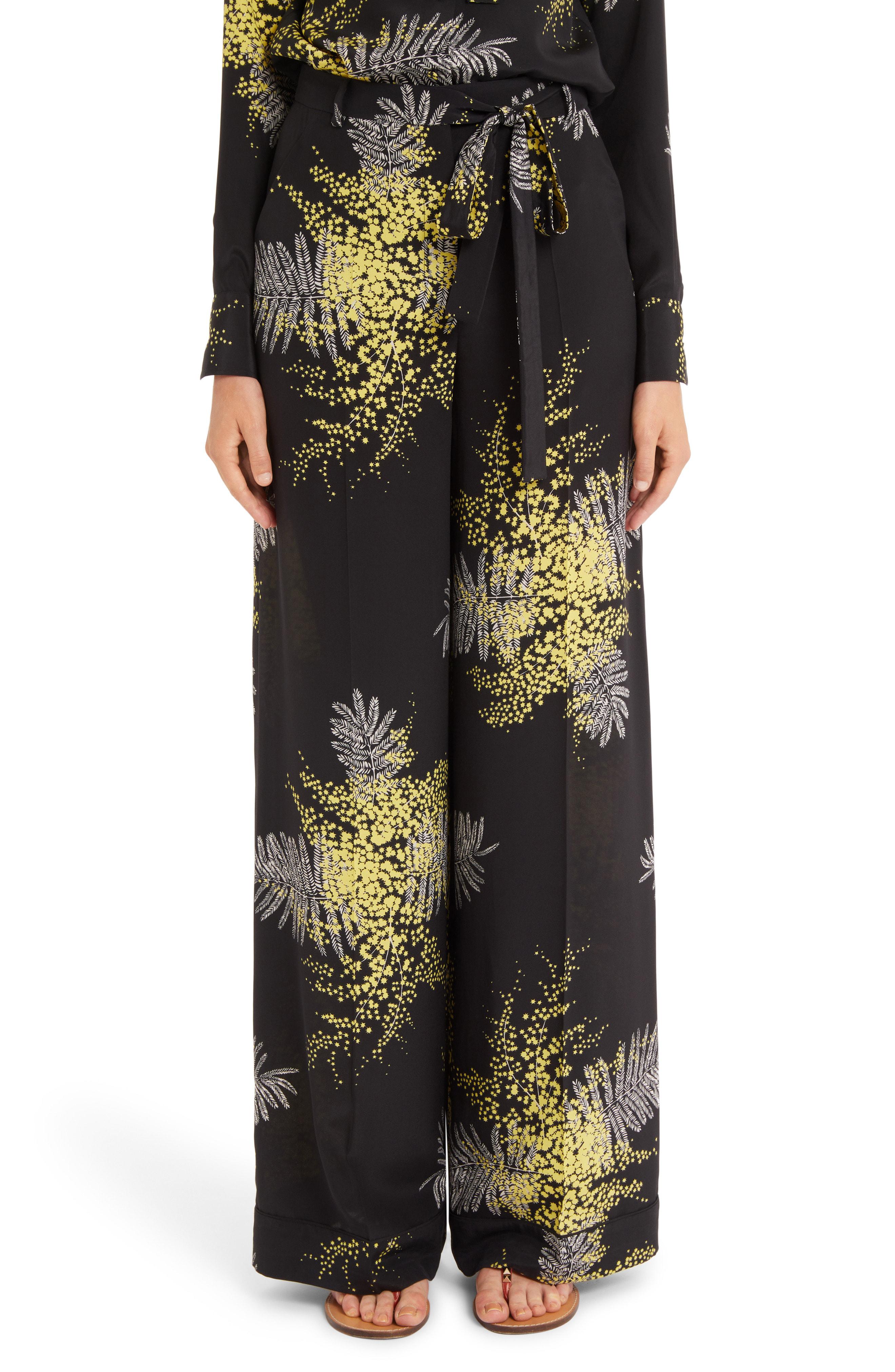 Valentino Mimosa Print Silk Crepe De Chine Wide Leg Pants In Black/ Multi Color