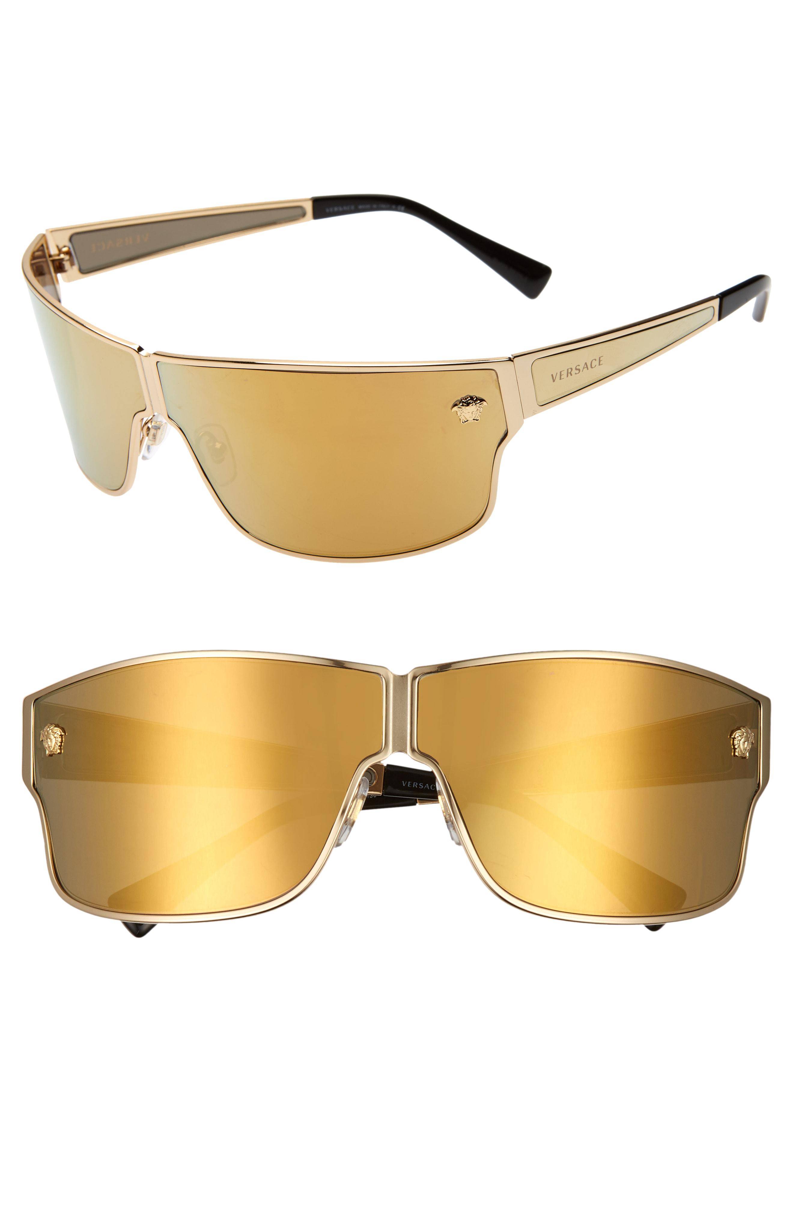 275c189f8007 Versace Medusa 72Mm Mirrored Shield Sunglasses - Gold/ Gold Mirror ...