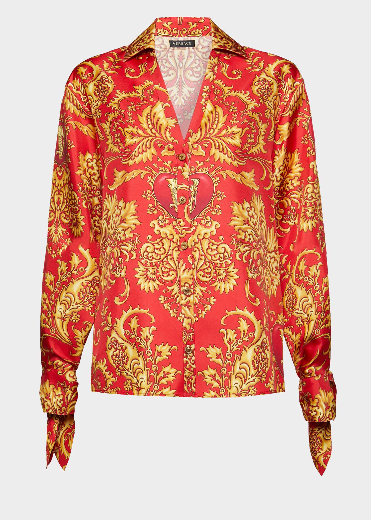 a313d3dc Versace V-Mine Print Silk Shirt In Black | ModeSens