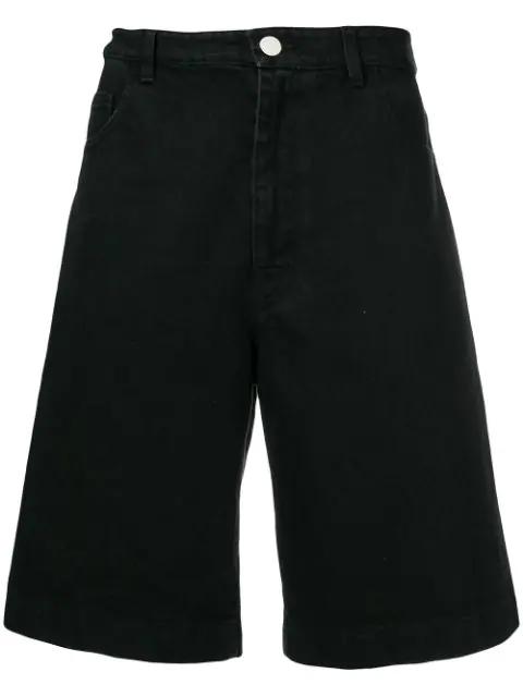 Raf Simons Loose-fit Denim Shorts In Black