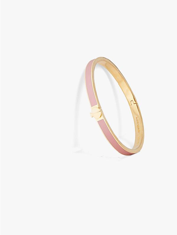 Kate Spade Thin Enamel & Goldtone Spade Hinge Bangle Bracelet In White