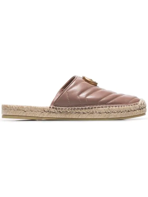 Gucci Pink Double G Leather Espadrilles In Brown