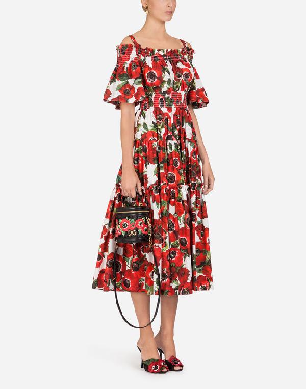Dolce & Gabbana Cold-Shoulder Floral-Print Cotton-Poplin Midi Dress In Red