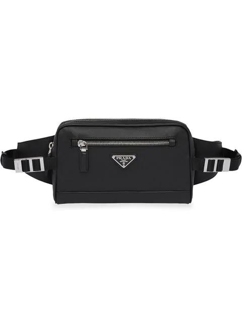 Prada Triangle Logo Belt Bag In Black