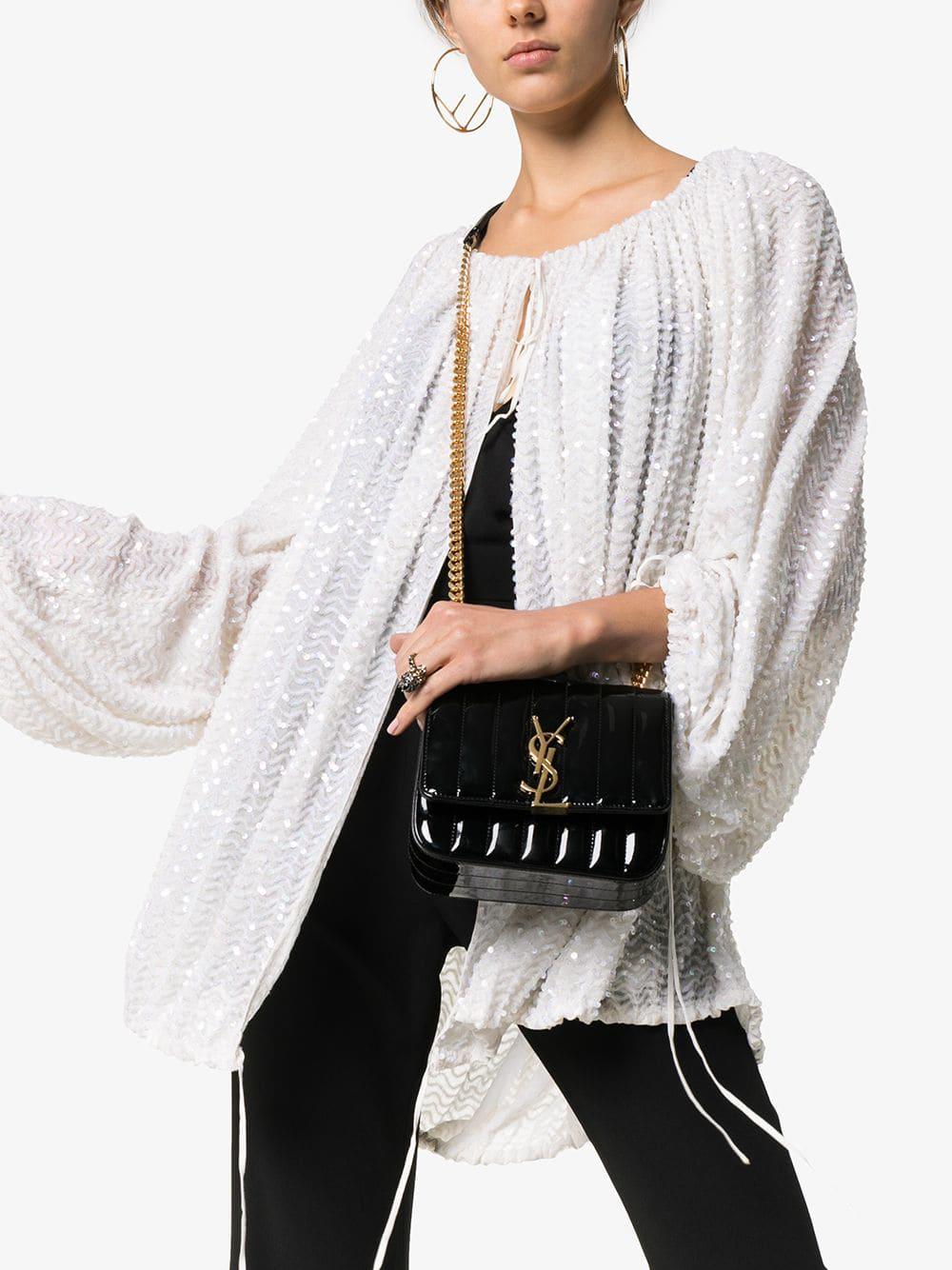 fc08f5abc8676f Saint Laurent Black Vicky Small Patent-Leather Cross Body Bag In 1000 Black