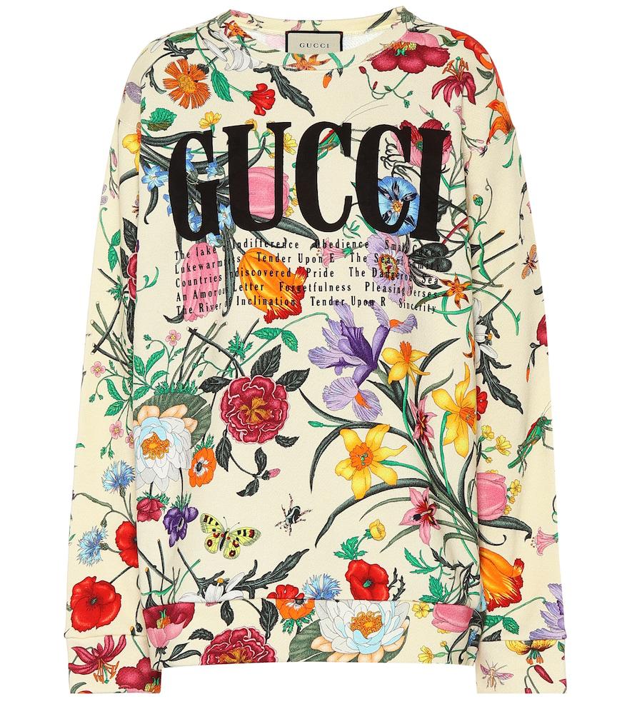 3053b91106 Gucci Floral-Print Cotton-Jersey Sweatshirt In Neutrals