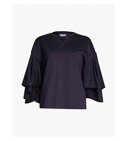 Ted Baker Emiaya Fluted-Sleeve Neoprene Sweatshirt-Style Top In Blue