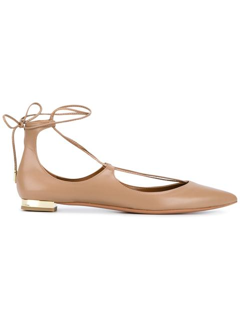 Aquazzura Christy Lace-Up Pointed-Toe Flat, Biscotto In Neutrals