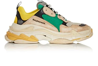 Balenciaga Mens Capsule Triple S Runner Leather And Mesh Trainers In Gray