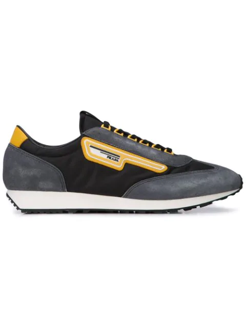 Prada Milano 70 Nylon & Suede Running Sneakers In F0002 Black