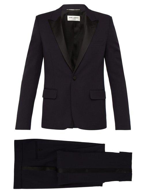 Saint Laurent Single-Breasted Satin-Trim Wool Tuxedo In Black