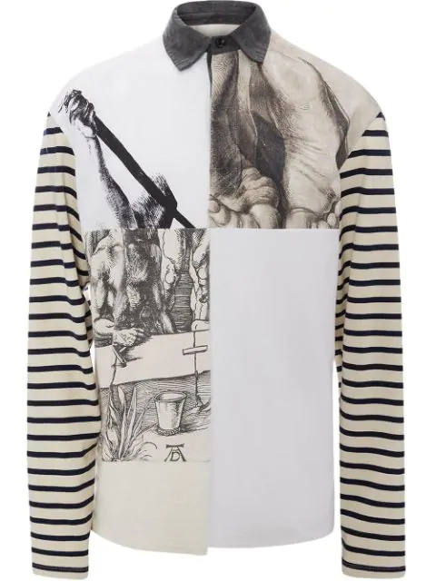 promo code 02f4c 8fe3a Jw Anderson Off- White Durer Prints Rugby Jersey Long Sleeve Polo Shirt