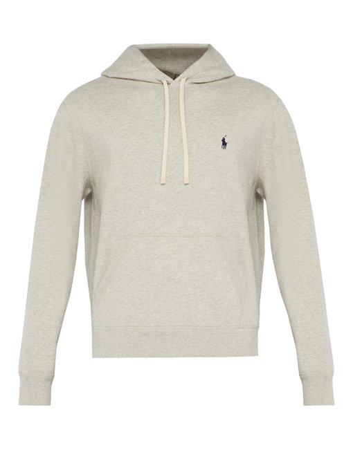 4716009df3 Polo Ralph Lauren - Hooded Logo Embroidered Cotton Sweatshirt - Mens - Grey