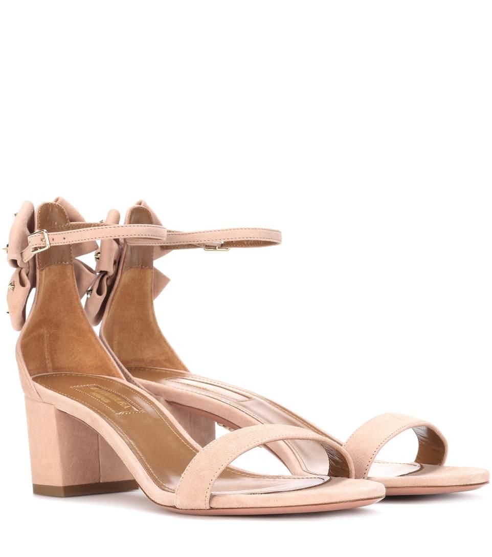 Aquazzura Siena Suede Block-Heel Sandals In Beige