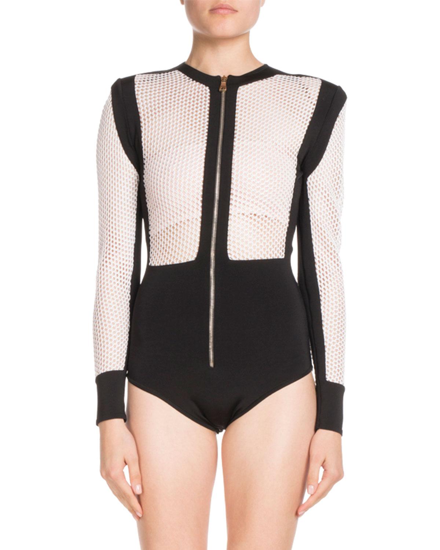 Balmain Long-Sleeve Zip-Front Bicolor Mesh Bodysuit In Black