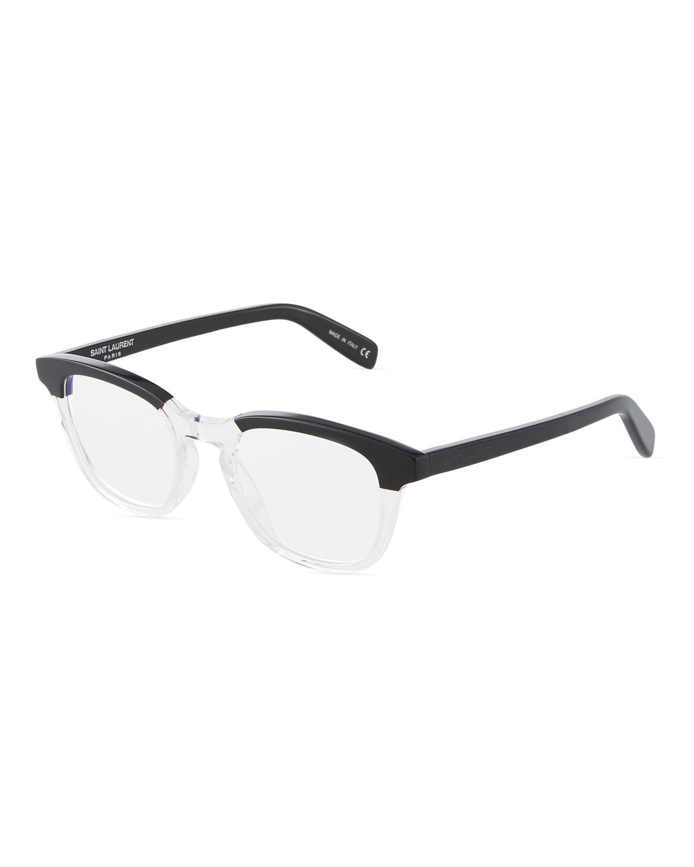 bafcb55b08c Saint Laurent Round Two-Tone Acetate Optical Glasses In Black | ModeSens
