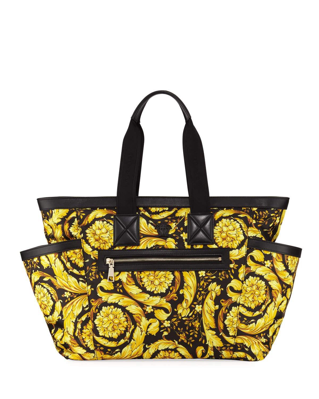 3214e0e8c88 Versace Canvas Barocco-Print Diaper Bag In Multi | ModeSens