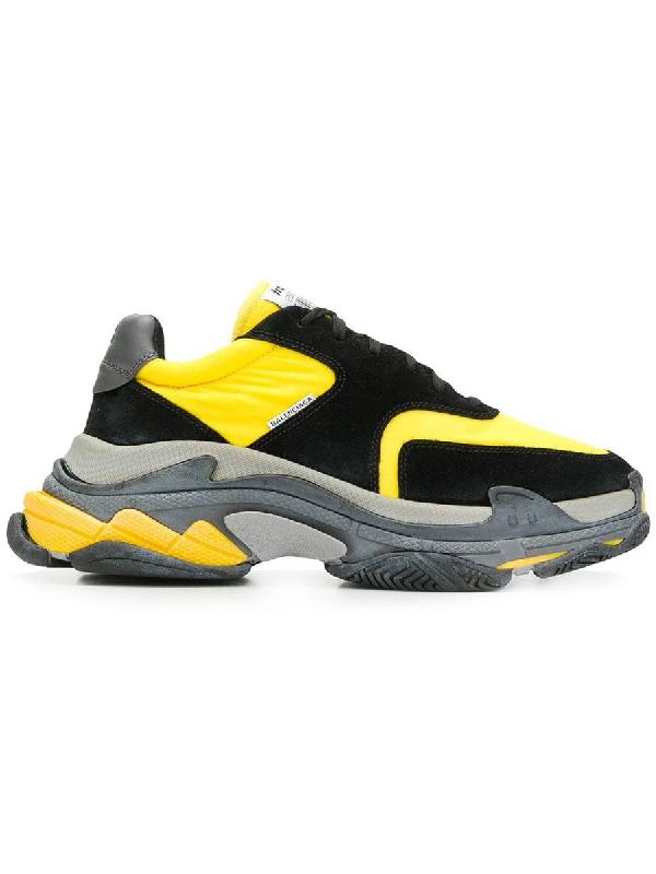 Balenciaga Men's Triple S Mesh & Leather Sneakers, Black/Yellow In Black/Comb